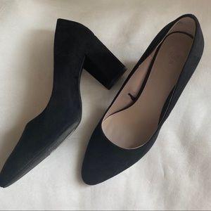 H&M black faux suede high heel pumps